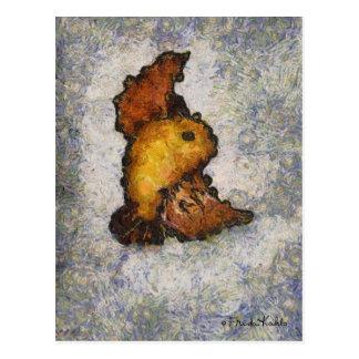 Pintura do pássaro do Monet-Estilo de Frida Kahlo Cartão Postal