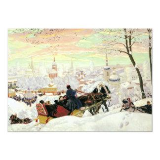 Pintura do passeio do trenó convite 12.7 x 17.78cm