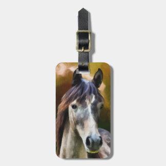 Pintura do retrato do cavalo de Digitas Etiqueta De Bagagem