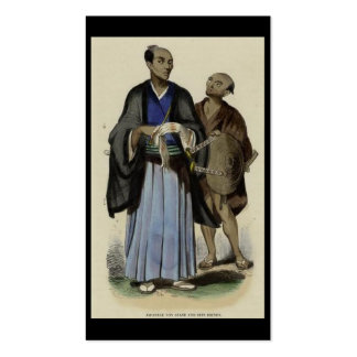 Pintura do samurai e do empregado C. 1845-1847 Modelos Cartão De Visita