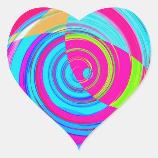 Pintura espiral recreada adesivo de coração