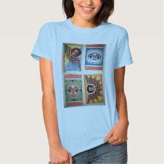 Pintura etíope da igreja - t-shirt dos azuis bebés