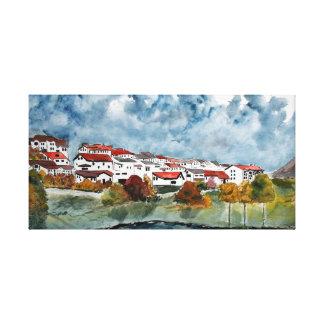 pintura européia da aguarela da paisagem impressão de canvas envolvida