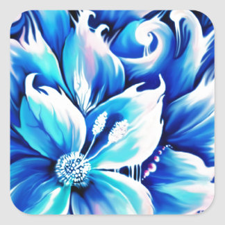 Pintura floral abstrata do azul e do rosa adesivo quadrado