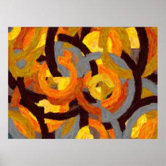 Pintura geométrica em círculos - AB-0009G Pôster
