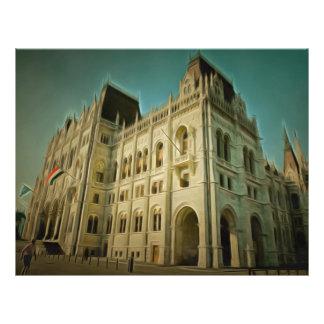 Pintura húngara da construção do parlamento panfletos personalizado