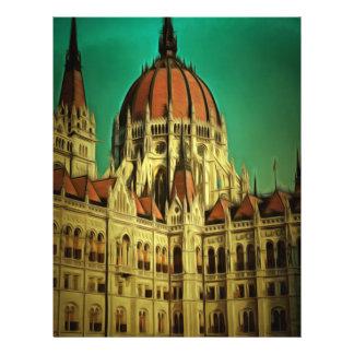 Pintura húngara da construção do parlamento modelos de panfleto