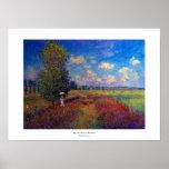 Pintura impressionista do verão do campo da papoil poster