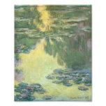 Pintura impressionista dos lírios de água de impressão de foto
