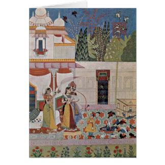 Pintura indiana de Pigeonby do cavalheiro e da sen Cartão