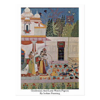 Pintura indiana de Pigeonby do cavalheiro e da sen Cartão Postal