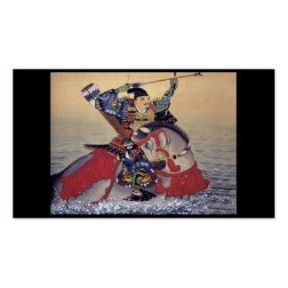 Pintura japonesa velha de um samurai cartão de visita