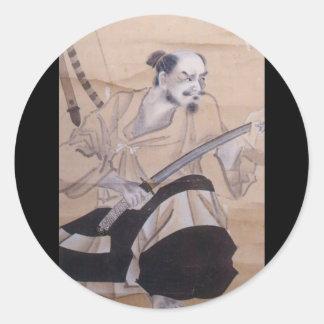 Pintura japonesa velha do samurai adesivo redondo