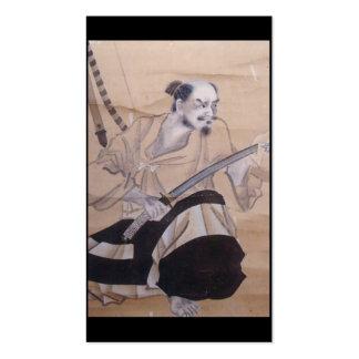 Pintura japonesa velha do samurai cartão de visita