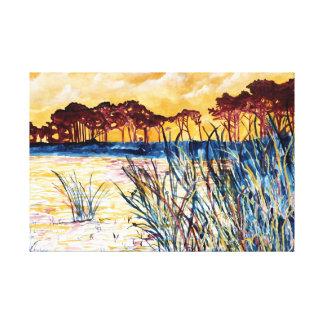pintura litoral da aguarela da paisagem impressão em tela