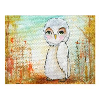 Pintura lunática da arte da coruja da floresta da cartão postal