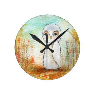Pintura lunática da arte da coruja da floresta da  relógios para paredes