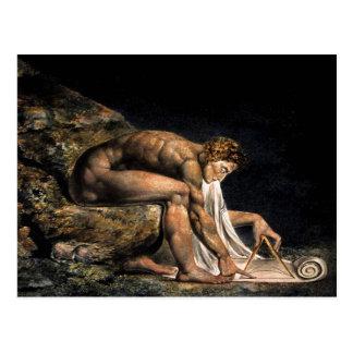 Pintura maçónica de Newton William Blake Cartão Postal