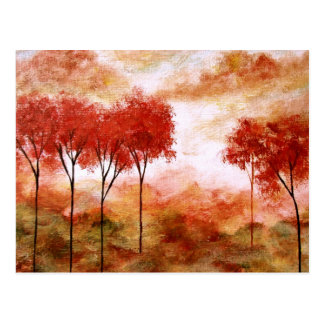 Pintura magro vermelha das árvores da arte cartão postal