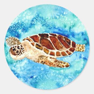 pintura marinha da aguarela do sealife da adesivo redondo