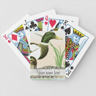 Pintura masculina do pato do pato selvagem cartas de baralho