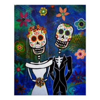 Pintura mexicana da arte popular do casamento pôster