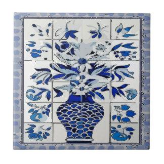 Pintura mural azul do azulejo do vaso de flor de