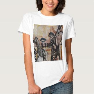 Pintura mural da zebra camiseta