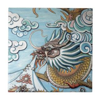 Pintura mural do dragão no templo budista chinês