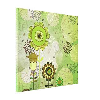 Pintura mural verde decorativa impressão esticado impressão em canvas