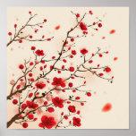 Pintura oriental do estilo, flor da ameixa no prim impressão