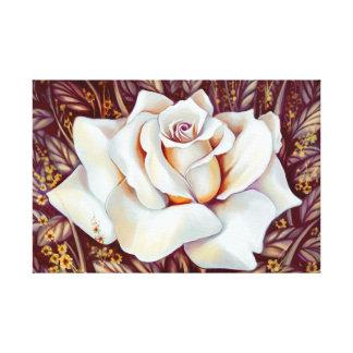 Pintura realística do buquê do rosa branco impressão em tela