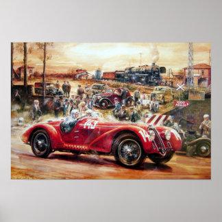 Pintura retro do carro de competência poster