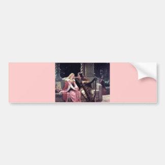 Pintura romântica da mulher do homem da harpa da adesivo para carro
