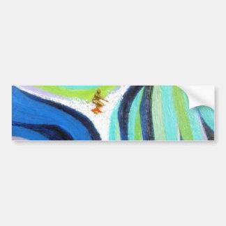 Pintura surfando da arte do surfista do surf azul  adesivo para carro