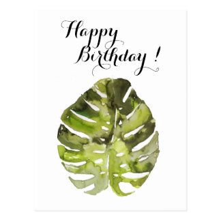 Pintura tropical da folha da aguarela cartão postal