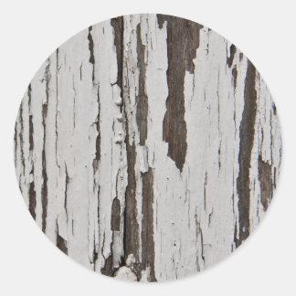 Pintura velha na madeira adesivo em formato redondo
