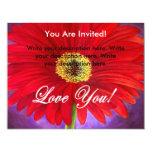 Pintura vermelha da flor da margarida - multi convite 10.79 x 13.97cm