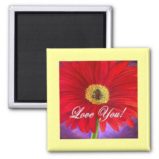 Pintura vermelha da flor da margarida - multi ímã quadrado