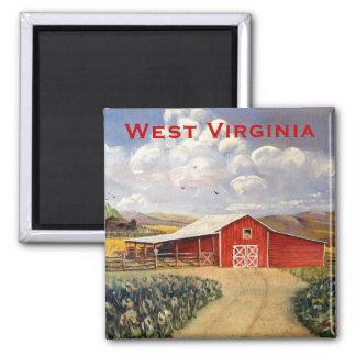 Pintura vermelha das belas artes da fazenda de imãs de refrigerador