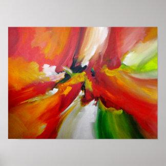Pintura vermelha do Expressionism abstrato de Pôster