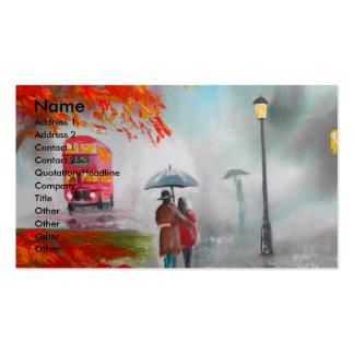 Pintura vermelha do guarda-chuva do ônibus do outo cartoes de visitas