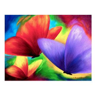 Pinturas coloridas da borboleta em cartão do