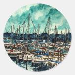 pinturas da arte da navigação do marinheiro dos adesivos em formato redondos