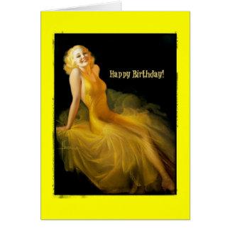 Pinup do aniversário no amarelo cartão