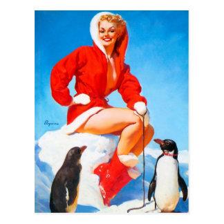 Pinup do Natal com pinguins! Cartão Postal