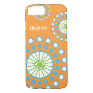 Pinwheel alaranjado, azul, verde capa iPhone 8/ 7