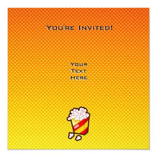 Pipoca amarelo alaranjado convite quadrado 13.35 x 13.35cm