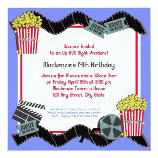 Pipoca e um filme convite quadrado 13.35 x 13.35cm