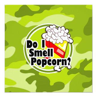 Pipoca engraçada; camo verde-claro, camuflagem convite personalizado